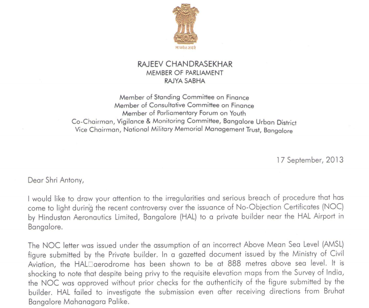 Investigate all no objection certificate nocs sanctions granted by investigate all no objection certificate nocs sanctions granted by hal rajeev urges defence minister thecheapjerseys Image collections