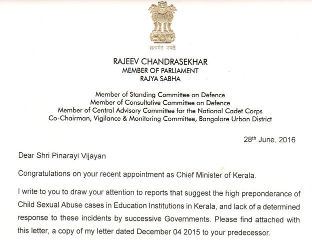 Kerala rajeev chandrasekhar rajeev writes to newly appointed honble chief minister of kerala shri pinarayi vijayan on child sexual abuse spiritdancerdesigns Image collections