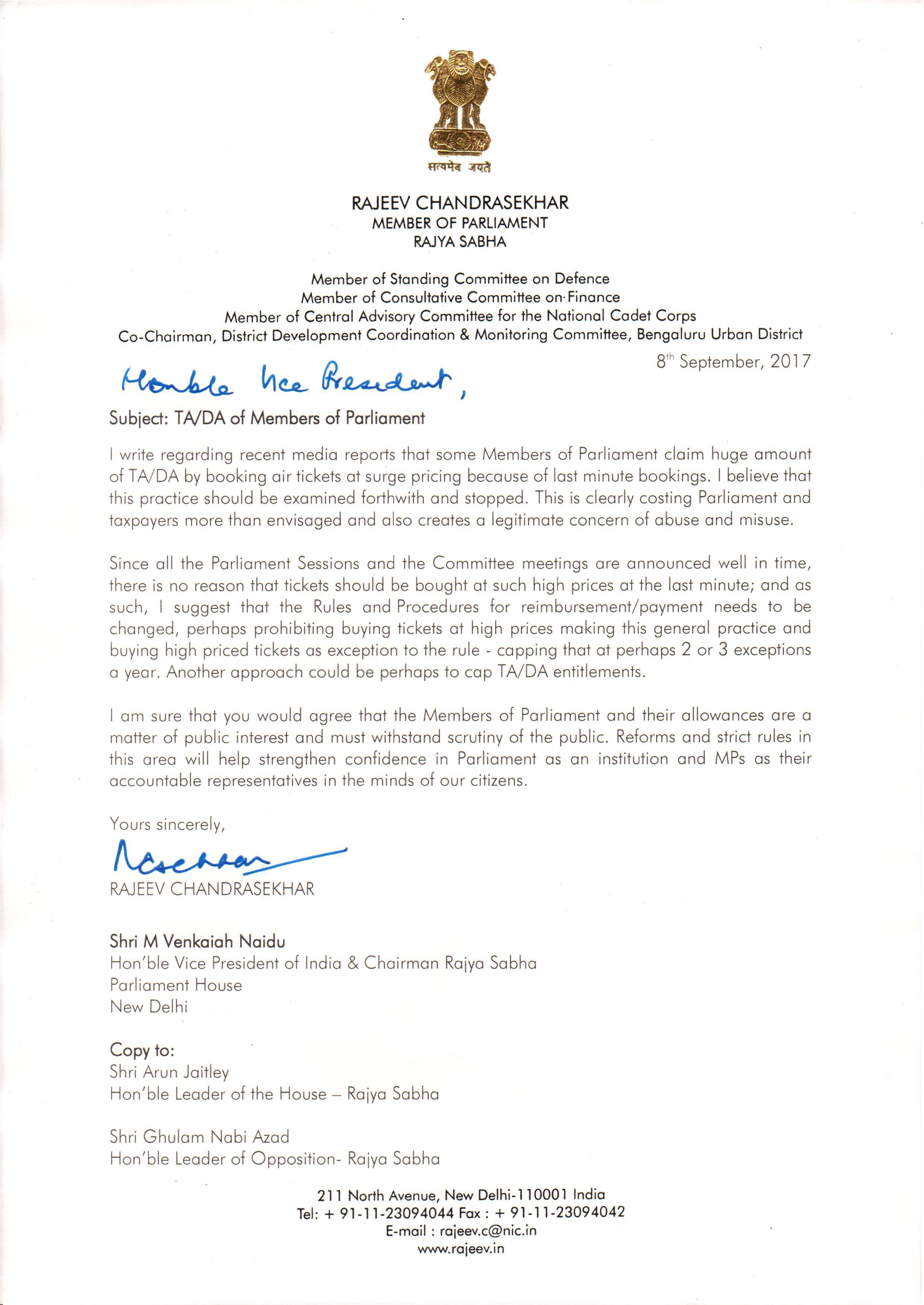 Transform india economy governance rajeev chandrasekhar rajeev writes to vice president of india regarding tada members of parliament read letter expocarfo Choice Image